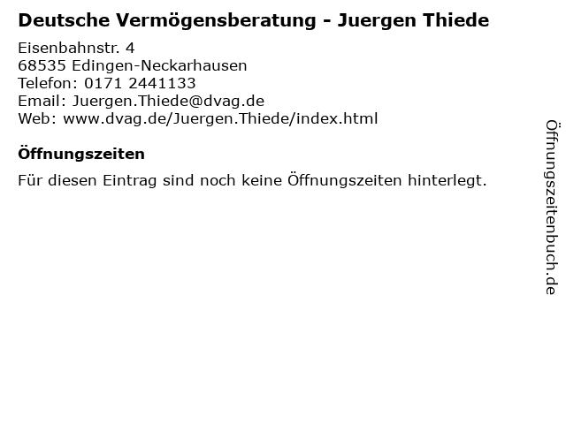 Deutsche Vermögensberatung - Juergen Thiede in Edingen-Neckarhausen: Adresse und Öffnungszeiten