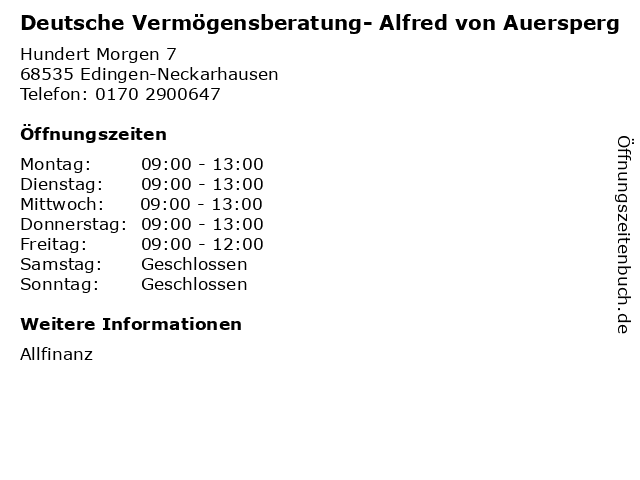 Deutsche Vermögensberatung- Alfred von Auersperg in Edingen-Neckarhausen: Adresse und Öffnungszeiten