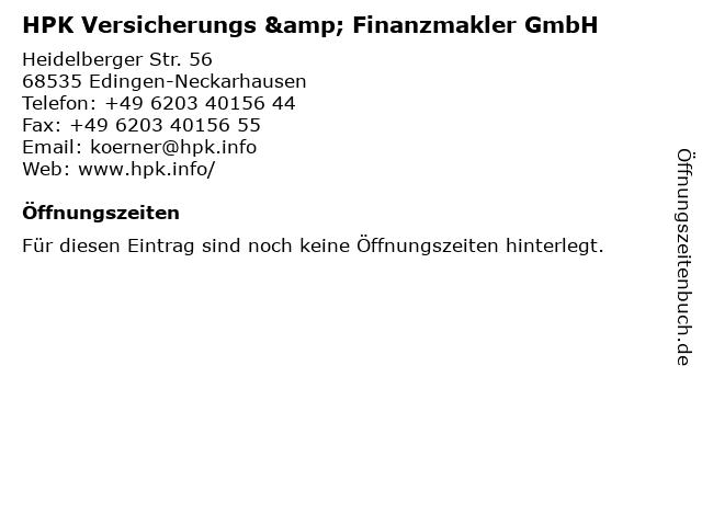 HPK Versicherungs & Finanzmakler GmbH in Mannheim: Adresse und Öffnungszeiten