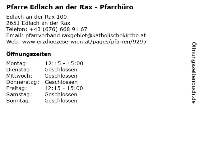 Pfarre Edlach an der Rax - Pfarrbüro in Edlach an der Rax: Adresse und Öffnungszeiten