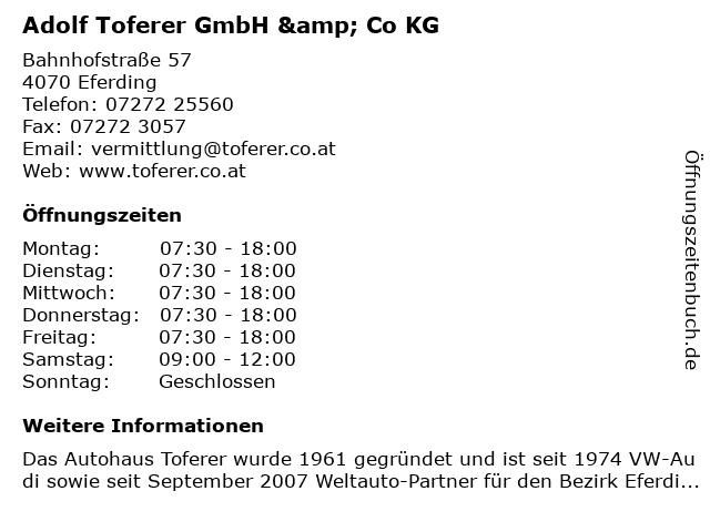 Adolf Toferer GmbH & Co KG in Eferding: Adresse und Öffnungszeiten