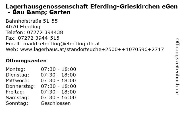 Lagerhausgenossenschaft Eferding-Grieskirchen eGen - Bau & Garten in Eferding: Adresse und Öffnungszeiten