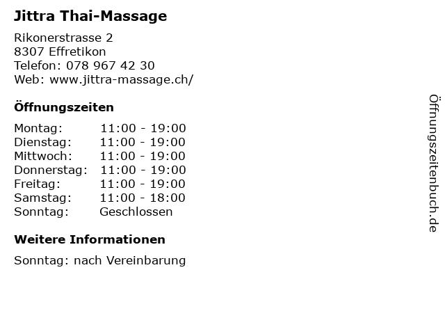 Jittra Thai-Massage in Effretikon: Adresse und Öffnungszeiten
