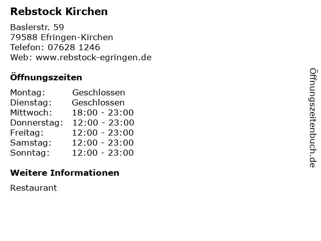 Rebstock Kirchen in Efringen-Kirchen: Adresse und Öffnungszeiten