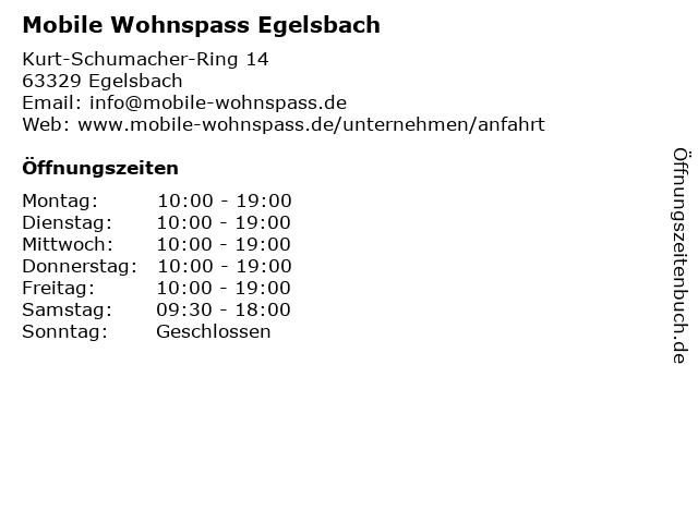 ᐅ öffnungszeiten Mobile Wohnspass Egelsbach Kurt Schumacher
