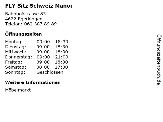 ᐅ öffnungszeiten Fly Sitz Schweiz Manor Bahnhofstrasse 85 In