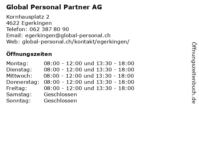 Global Personal Partner AG in Egerkingen: Adresse und Öffnungszeiten