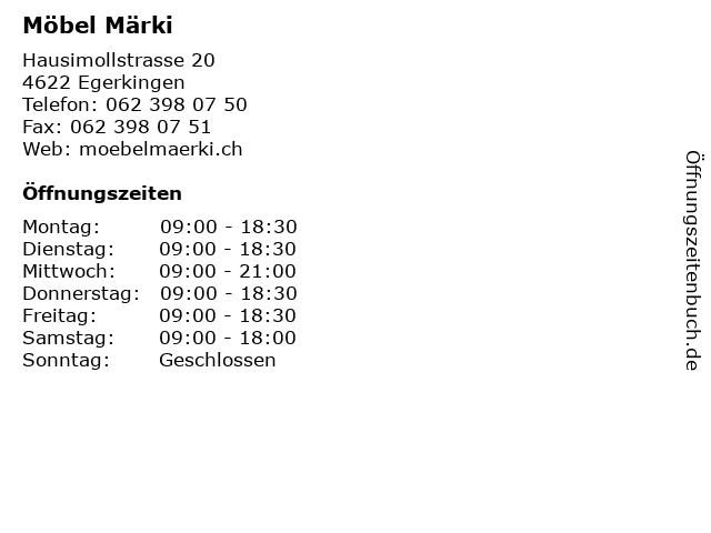 ᐅ öffnungszeiten Möbel Märki Hausimollstrasse 20 In Egerkingen