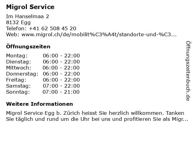 Migrol Service in Egg bei Zürich: Adresse und Öffnungszeiten