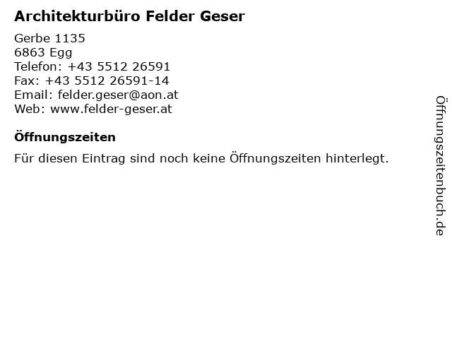 Architekturbüro Felder Geser in Egg: Adresse und Öffnungszeiten