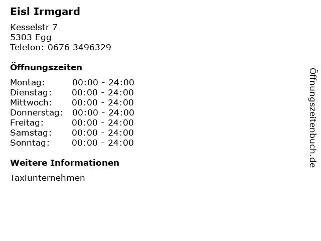 Eisl Irmgard in Egg: Adresse und Öffnungszeiten
