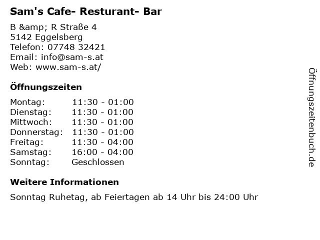 Sam's Cafe- Resturant- Bar in Eggelsberg: Adresse und Öffnungszeiten