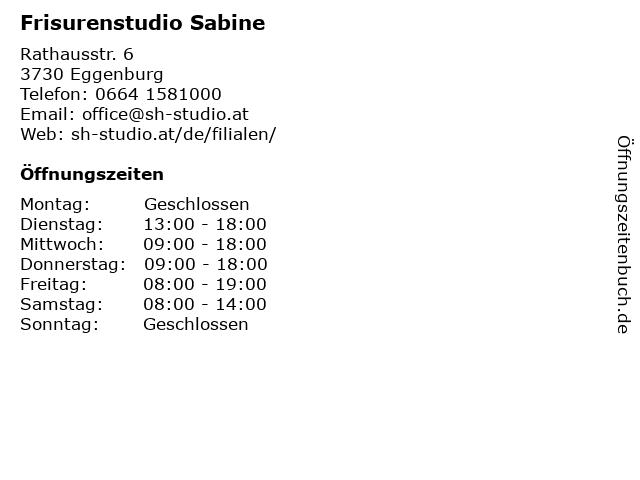 Frisurenstudio Sabine in Eggenburg: Adresse und Öffnungszeiten
