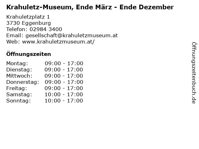 Krahuletz-Museum, Ende März - Ende Dezember in Eggenburg: Adresse und Öffnungszeiten
