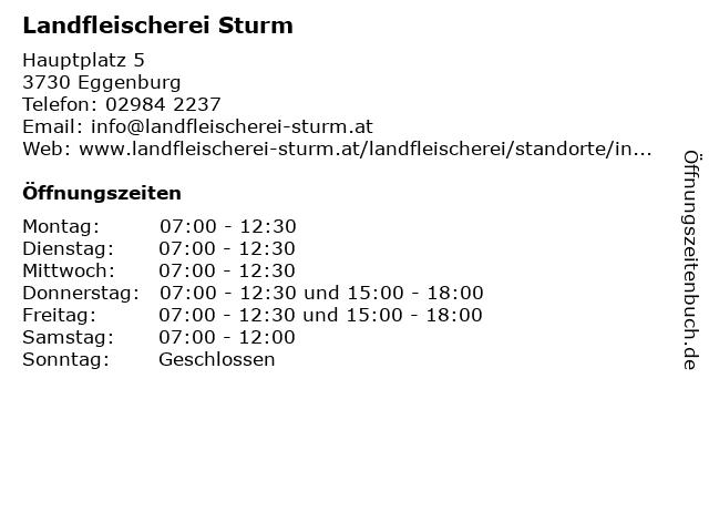 Landfleischerei Sturm in Eggenburg: Adresse und Öffnungszeiten