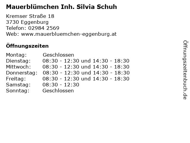 Mauerblümchen Inh. Silvia Schuh in Eggenburg: Adresse und Öffnungszeiten