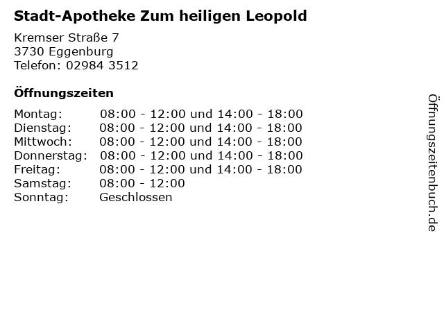 Stadt-Apotheke Zum heiligen Leopold in Eggenburg: Adresse und Öffnungszeiten