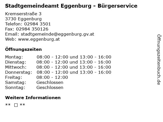 Stadtgemeindeamt Eggenburg - Bürgerservice in Eggenburg: Adresse und Öffnungszeiten