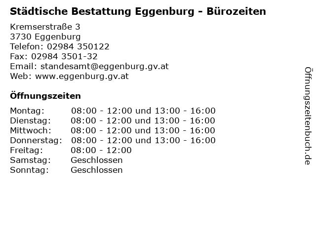 Städtische Bestattung Eggenburg - Bürozeiten in Eggenburg: Adresse und Öffnungszeiten