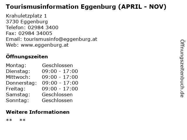 Tourismusinformation Eggenburg (APRIL - NOV) in Eggenburg: Adresse und Öffnungszeiten