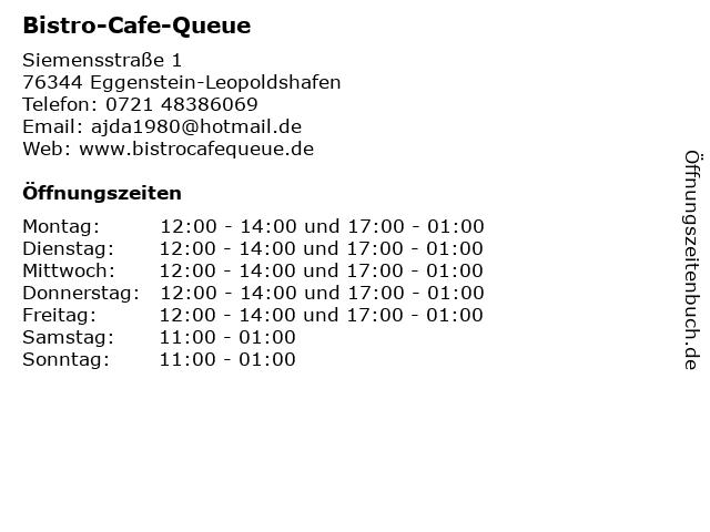 Bistro-Cafe-Queue in Eggenstein-Leopoldshafen: Adresse und Öffnungszeiten