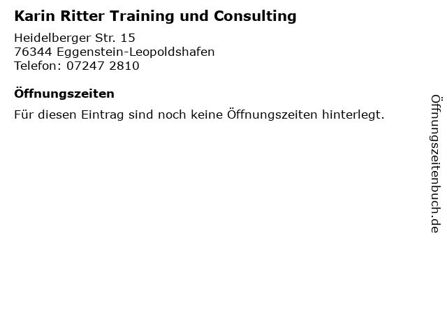 Karin Ritter Training und Consulting in Eggenstein-Leopoldshafen: Adresse und Öffnungszeiten