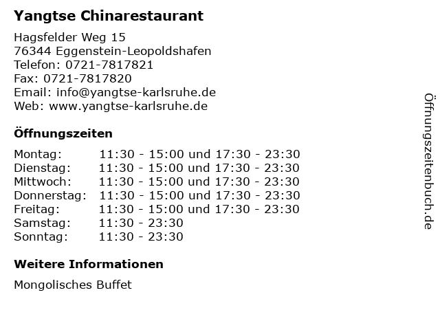 Yangtse Chinarestaurant in Eggenstein-Leopoldshafen: Adresse und Öffnungszeiten