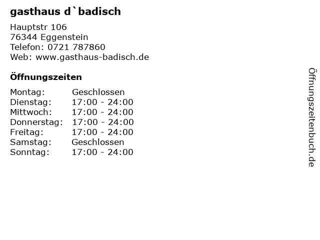 gasthaus d`badisch in Eggenstein: Adresse und Öffnungszeiten