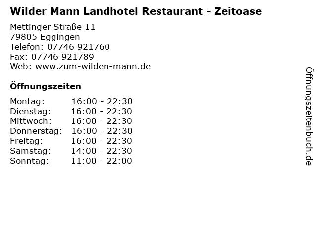 Wilder Mann Landhotel Restaurant - Zeitoase in Eggingen: Adresse und Öffnungszeiten