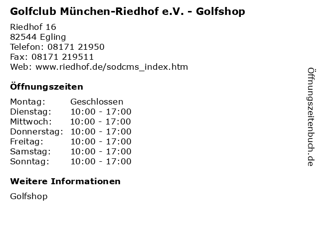 ᐅ öffnungszeiten Golfclub München Riedhof Ev Golfshop