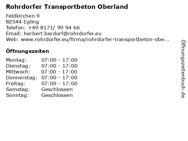 Rohrdorfer Transportbeton Oberland in Egling: Adresse und Öffnungszeiten