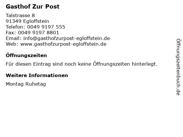 Gasthof Zur Post in Egloffstein: Adresse und Öffnungszeiten