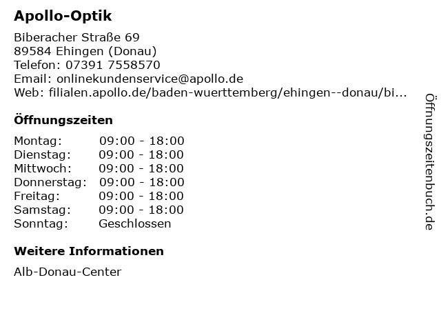 Apollo-Optik Holding GmbH & Co. KG in Ehingen (Donau): Adresse und Öffnungszeiten