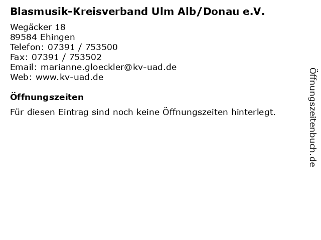 Blasmusik-Kreisverband Ulm Alb/Donau e.V. in Ehingen: Adresse und Öffnungszeiten