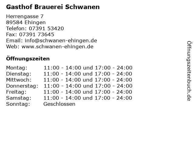 Gasthof Brauerei Schwanen in Ehingen: Adresse und Öffnungszeiten