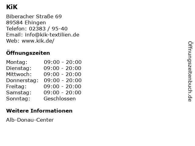KiK Textilien und Non-Food GmbH in Ehingen: Adresse und Öffnungszeiten