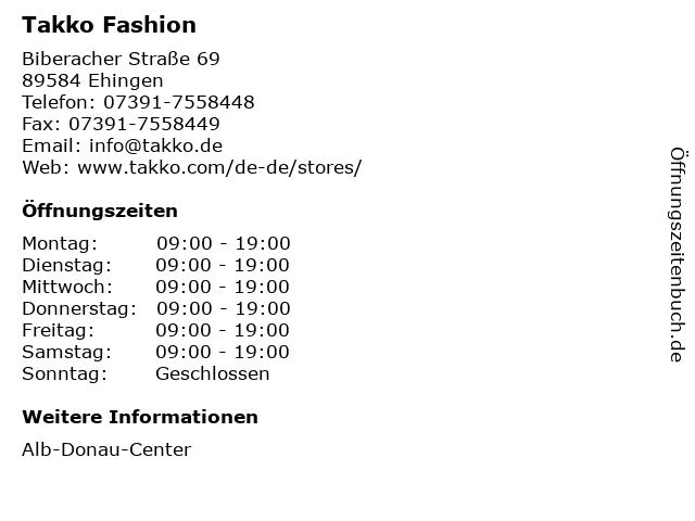 Takko Fashion in Ehingen: Adresse und Öffnungszeiten