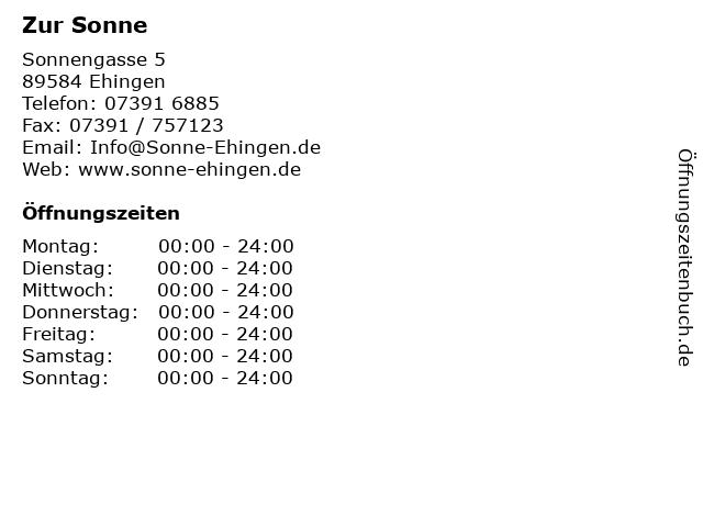 Zur Sonne in Ehingen: Adresse und Öffnungszeiten