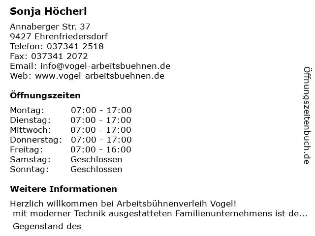 Dieter Vogel Arbeitsbühnenverleih in Ehrenfriedersdorf: Adresse und Öffnungszeiten