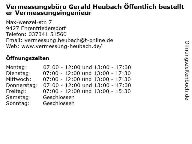 Gerald Heubach Vermessungsbüro in Ehrenfriedersdorf: Adresse und Öffnungszeiten