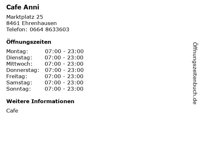 Cafe Anni in Ehrenhausen: Adresse und Öffnungszeiten