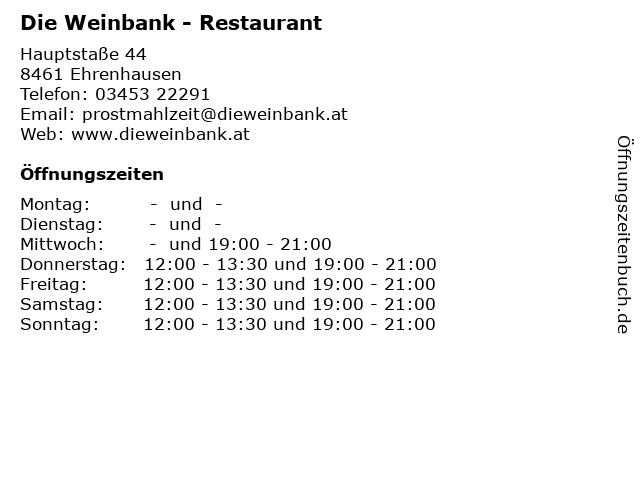 Die Weinbank - Restaurant in Ehrenhausen: Adresse und Öffnungszeiten