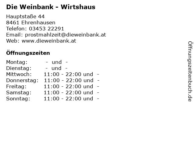 Die Weinbank - Wirtshaus in Ehrenhausen: Adresse und Öffnungszeiten