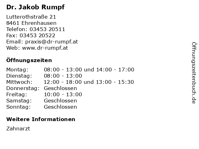 Dr. Jakob Rumpf in Ehrenhausen: Adresse und Öffnungszeiten