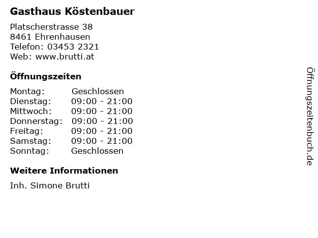 Gasthaus Köstenbauer in Ehrenhausen: Adresse und Öffnungszeiten