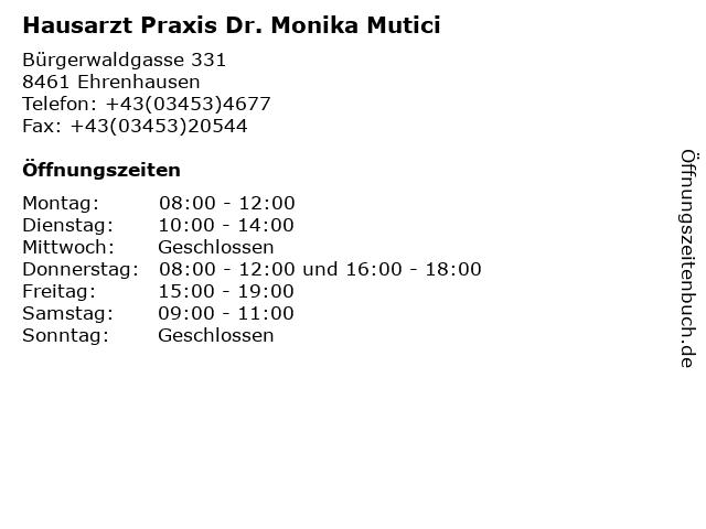 Hausarzt Praxis Dr. Monika Mutici in Ehrenhausen: Adresse und Öffnungszeiten