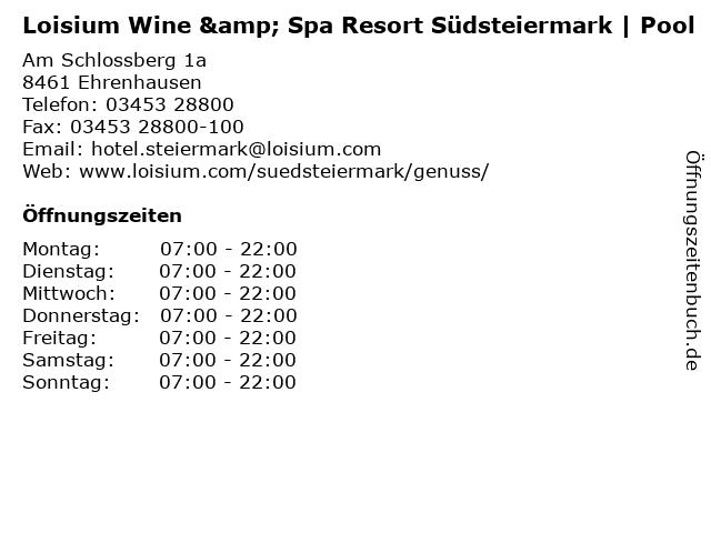 Loisium Wine & Spa Resort Südsteiermark | Pool in Ehrenhausen: Adresse und Öffnungszeiten
