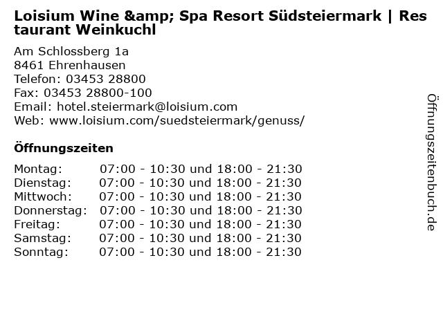 Loisium Wine & Spa Resort Südsteiermark   Restaurant Weinkuchl in Ehrenhausen: Adresse und Öffnungszeiten