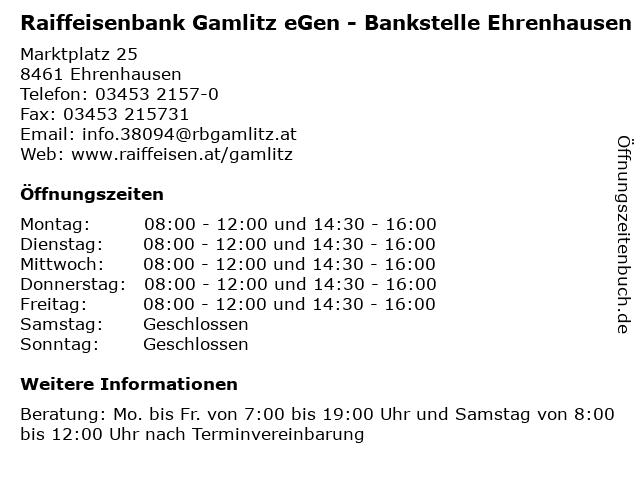 Raiffeisenbank Gamlitz eGen - Bankstelle Ehrenhausen in Ehrenhausen: Adresse und Öffnungszeiten
