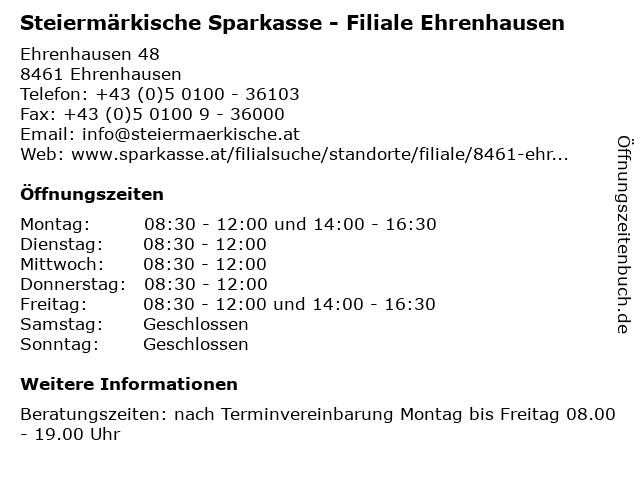 Steiermärkische Sparkasse - Filiale Ehrenhausen in Ehrenhausen: Adresse und Öffnungszeiten